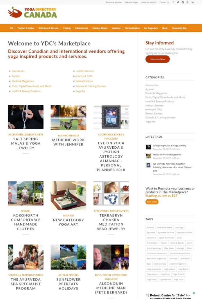yoga-directory-canada-marketplace-ad-placement